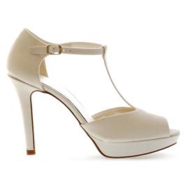 Laura 10cm peep toe de plataforma de novia, color: blanco roto