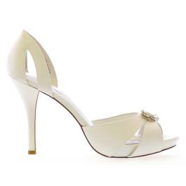 Pasión peep toe de novia. blanco roto