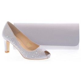 Susana prom shoes silver and hamlet handbag