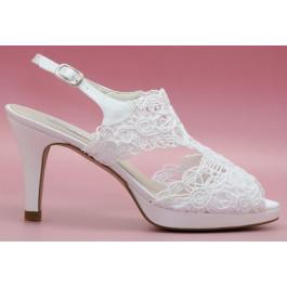 Sandra sandalia de novia, blanco roto