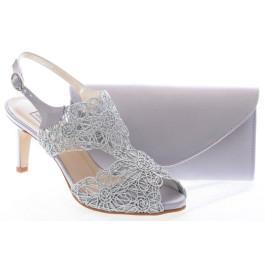 Sandra zapatos de fiesta plata y bolso joel