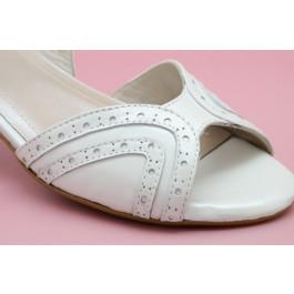 Teresa sandalias de novia, blanco roto
