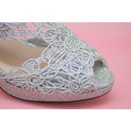 Sandra sandalias de fiesta plata brillo