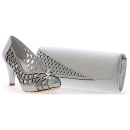 Santi bolso de fiesta plata y zapato Gina