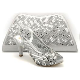 Jairo bolso de fiesta y ceremonia: plata y zapato Jenny