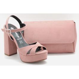Roure rosa nude bolso de fiesta y sandalia Coral