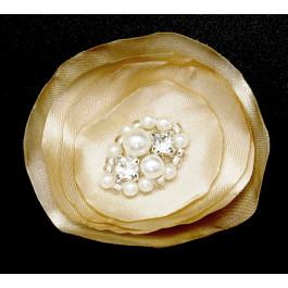A_108 Flor de raso con perlas y pedrería oro: adornos para zapato