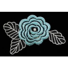 A_82 Flor de encaje azul celeste, adorno para zapatos