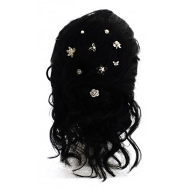 E-152 Bridal hairpin spiral with rhinestones, pearls and nacre.