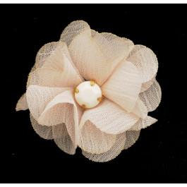 flor de gasa pequeña con piedra blanca central_shoe clip