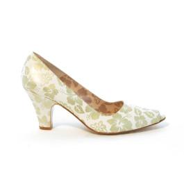 Isis zapatos de novia estampado oro