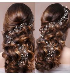 C_78 tiara flexible de novia con pedrería y perlas