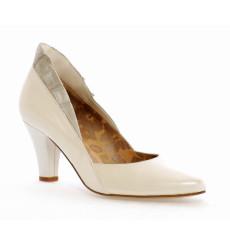 Reina zapato de novia fruncido plata