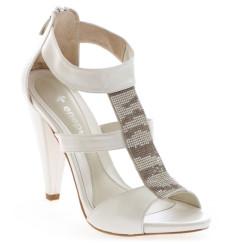 Nica sandalias de novia con pedrería, blanco roto