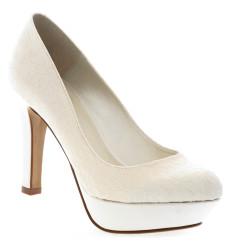 Venus zapatos de novia de encaje, blanco roto