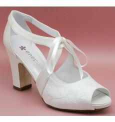 Karen sandalia de novia de encaje: blanco roto