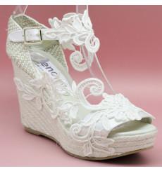Aurora alpargata de novia, blanco roto