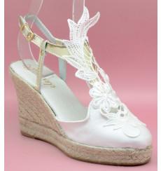 Trinidad alpargata de novia de encaje, blanco roto
