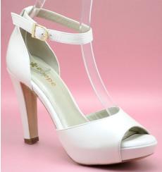 Juno liso zapatos de novia blanco roto
