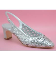 Merche espejo zapato de fiesta, plata