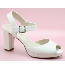 Belinda sandalias de novia de tacón ancho