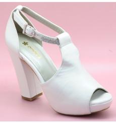 Marisol pedrería zapatos de novia tacón ancho