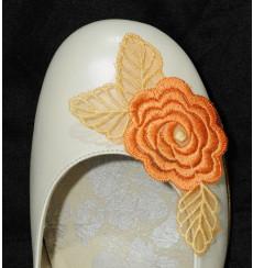 A_84 Flor de encaje naranja, adorno para zapatos