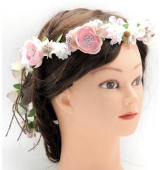 C_73 tiara flexible de novia con flores blancas y rosas