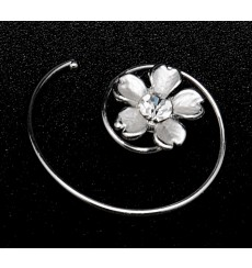 Horquilla flor espiral de novia con pedrería E-05