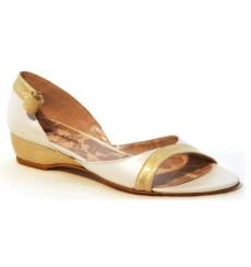 Rita zapatos de novia, blanco roto y dorado