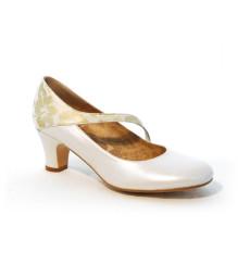 Nuria zapatos de novia flores doradas