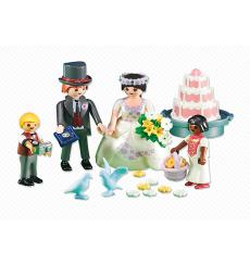 Novios de Playmobil con niños y pastel de boda, novia morena