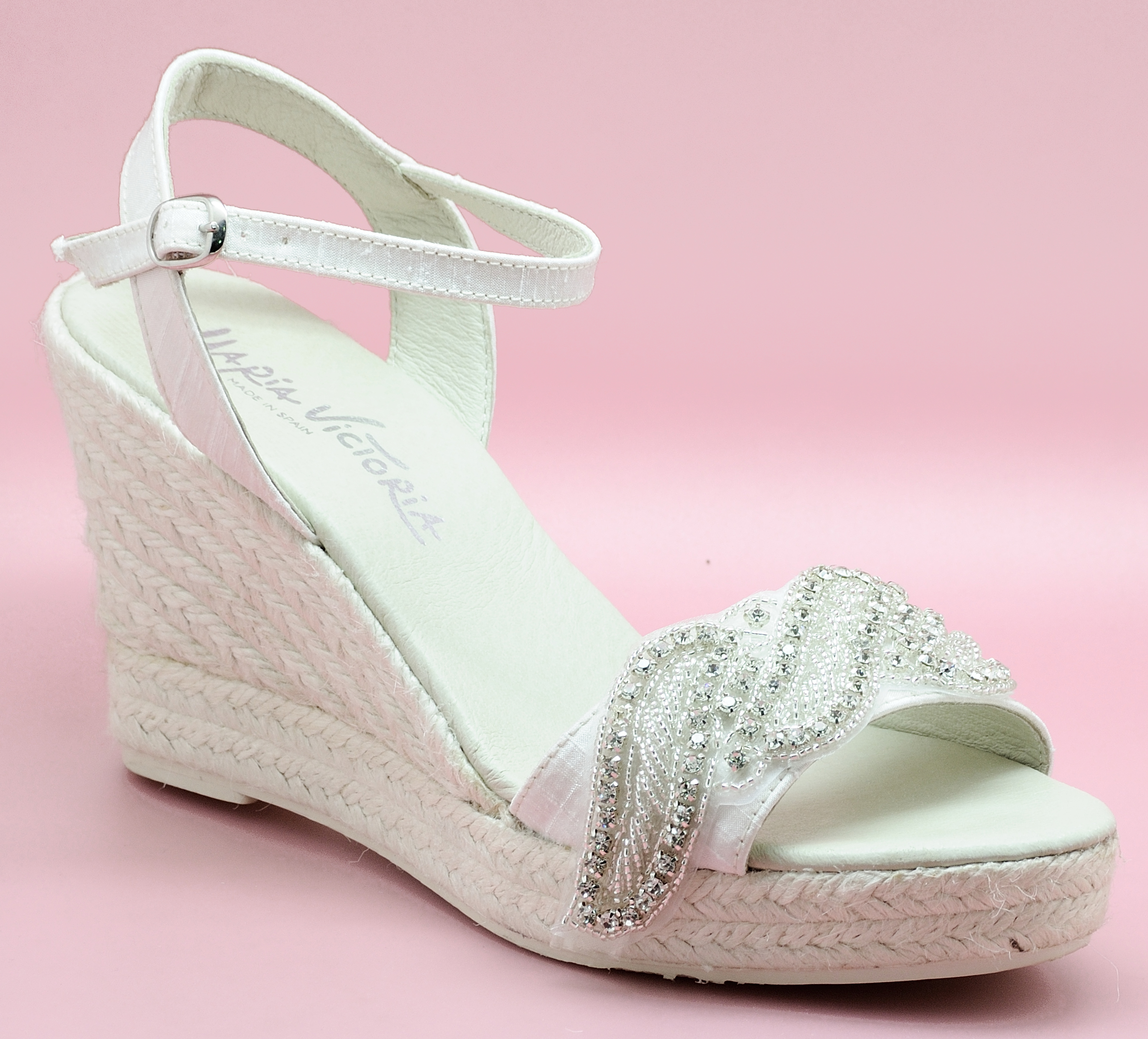 Zapatos de novia cómodos - Modelo Seda Pedrería 2